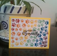Handmade Pet Sympathy Card, Thinking of You, Happy Birthday, dog cat paw prints