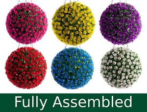 Best Artificial Rose Flower Balls Topiary Hanging Basket Plant UV Fade Protected