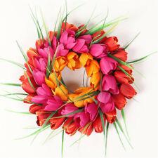 Artificial Flower Tulip Wreath Door Wreath Silk Flower Wreath Home Wall ArtDecor