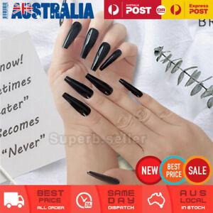24pc Extra Long Shine Black Fake Nail Tips Glue On False Press On Artificial AU