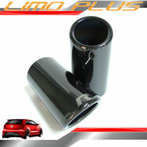 70mm  Titan Black Exhaust Pipe Muffler Tips for VW GOLF MK6 MK7 Non-GTI