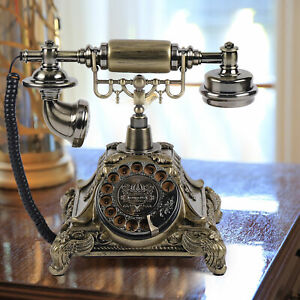 European Style Vintage Handset Telephone Antique Old Fashioned Rotary Dial Phone