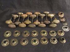 1 Pair of High Quality Antique Brass Oval Door Knobs Escutcheons Closet Sets