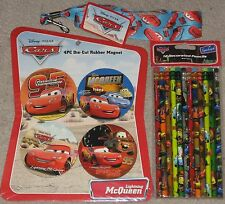 NEW Disney Pixar Cars 4pc Magnet set, Lanyard & #2 Pencils Sealed Free Ship !
