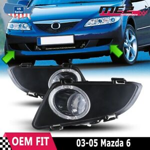 For Mazda 6 03-05 Factory Replacement Fit Fog Lights + Wiring Kit Clear Lens
