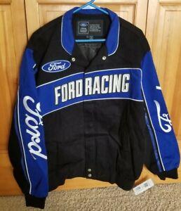 Ford Racing Champions Big Logo Coat Jacket Blue Black sz Large
