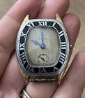 Vintage Antique Art Deco Elgin Watch Black Enamel Wristwatch As-Is