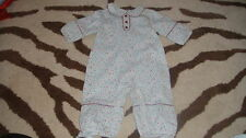 NEW NWOT JACADI 60 3M 3 MONTHS BLUE FLORAL OUTFIT TWINS