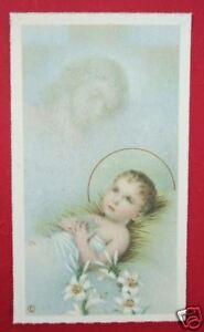 Vintage Catholic Holy Card Baby Jesus thinking of Cross - PRECIOUS Scene