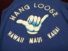 "Hang Loose ""Hawaii, Maui, Kauai"" Vintage T-Shirt Sleeveless Large 1980's Surfer"