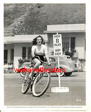 Vintage Anne Gwynne TIGHT SWEATER ON BICYCLE CANDID '42 Publicity Portrait