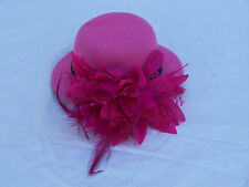"LADIES 5"" FASCINATOR HAT w HAIR CLIP PINK SMALL COCKTAIL FEATHER SPRING CARNIVAL"