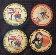 """1940's Vintage PORKY PIG 3.75"""" Coaster Cardboard VG+ LOT of 4 (2 Free Parking)"""