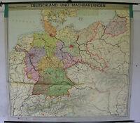 Schulwandkarte Wandkarte Schulkarte Deutschland und Nachbarländer 1960 201x189cm