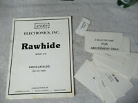 STERN RAW HIDE PINBALL    ORIGINAL   owners manual ARCADE GAME