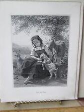 Vintage Print,AUF DE ALM,German Art Works,1861