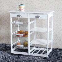 Kitchen Dining Room Cart 2-Drawer 3-Basket 3-Shelf Storage Rack Rolling Wheels
