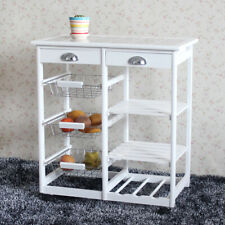 Kitchen Dining Room Cart 2-Drawer 3-Basket 3-Shelf Storage Rack Rolling Wheels