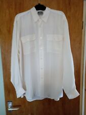 NEW MEN'S PURE SILK OFF WHITE (ECRU) LOOSE FIT SHIRT SIZE 38/40 CHEST