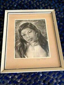 "SARA FARHI print signed & dated 1957 framed w/glass 14 1/2 x 18"""