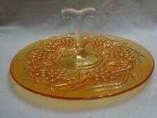 Vintage Amber Carnival Glass Grape & Gable Treat Platter