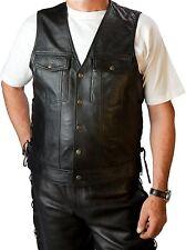 Western Lederweste Weste Jeans Style geschnürt mit Druckknöpfen Gr.S-3XL Biker