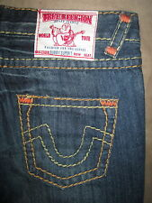 True Religion Size 27 Bobby Super T Low Rise Flare Distressed Dark Blue Womens