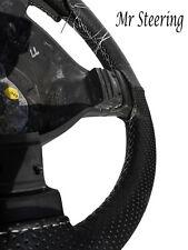 Per AUDI A3 1996-2003 nero perforato in pelle Volante COPERCHIO BIANCO CUCITURE
