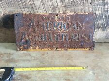 Antique American Agriculture Sign Or License Plate , Rustic Non Refurbished