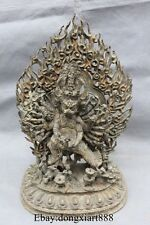 """12"""" Tibet Buddhism Bronze Yamantaka Yama Dharmaraja Buddha Vajrabhairava Statue"""