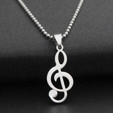 STAINLESS STEEL TREBLE CLEF NECKLACE 316L Metal Pendant 70cm Ball Chain Silver