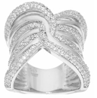 Vicenza Silver Sterling Silver Wide Polished Crystal Band Ring Size 5 Qvc $104