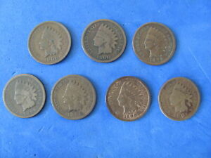 Fantastic Lot (7) Indian Head cents all different dates