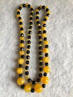 1930s Peking Glass Necklace Vintage Yellow Black Graded Beads Jewelry Jewellery
