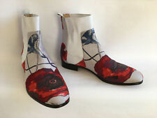 JIMMY CHOO BRAN BROCADE Red & White Poppy Ankle Chelsea Boots UK 6.5 EU 40