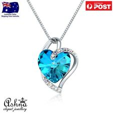 Ashna Jewellery Love Heart Blue Pendant Necklace with Swarovski Crystal Women