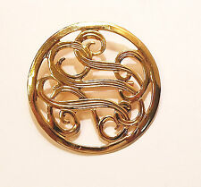 Initials? Brooch Pin Shiny Gold Tone Swirling Curving Shapes Set Inside Circle