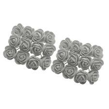 288x Fake Miniature Foam Rose Flower Wedding Bouquet DIY Craft Decor Gray