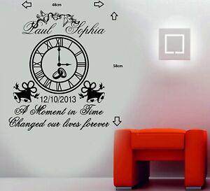 Personalised Wedding Clock Anniversary Keep Sake Wall Art Sticker/Decal#2