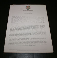 MARC ANTHONY THOMPSON 1984 PRESS RELEASE BY WARNER BROTHERS OUT OF PRINT & RARE