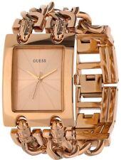 New GUESS Women's Trendy Rose Gold-Tone Double-Chain Bracelet Watch W0073L2