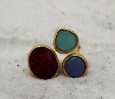 Triple Natural Faceted Stone Silver Gold Tone Ring Ruby Blue Agate Aventurine