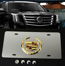 3D Gold Wreath Crest CADILLAC Front Rear Mirror Stainless Steel License Plate