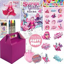 Pre Filled Purple Girls Superhero Party Bags Boxes For Childrens Birthday Gifts
