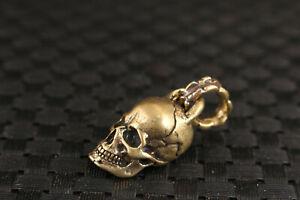 Chinese bronze handmade skull Statue figure pendant netsuke necklace