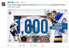 2019 St Louis Blues 1st Goal of Playoffs Game Used Puck David Perron 1000th GOAL