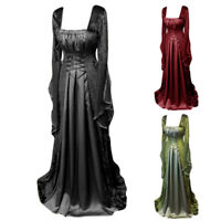 Ladies Lace-up Long Sleeve Gown Medieval Steampunk Victorian Maxi Swing Dress