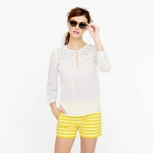 J. CREW Women's Yellow Textured Stripe Shorts- Size 4- Retails $65