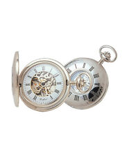 Woodford half-hunter pocket watch with mechanical skeleton movement, boxed
