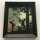 Antique Silhouette Glass Painting of Children and Tree in Frame